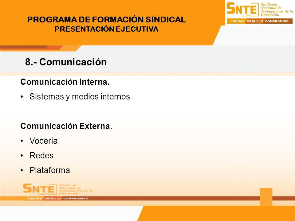 PROGRAMA DE FORMACIÓN SINDICAL PRESENTACIÓN EJECUTIVA 8.- Comunicación Comunicación Interna. Sistemas y medios internos Comunicación Externa. Vocería