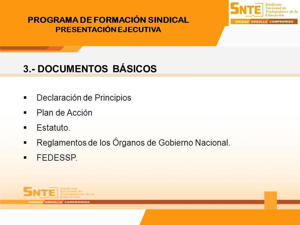 PROGRAMA DE FORMACIÓN SINDICAL PRESENTACIÓN EJECUTIVA 3.- DOCUMENTOS BÁSICOS Declaración de Principios Plan de Acción Estatuto. Reglamentos de los Órg