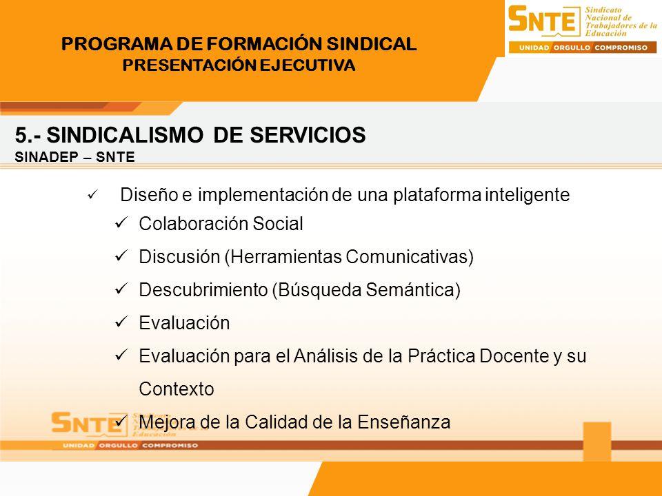 PROGRAMA DE FORMACIÓN SINDICAL PRESENTACIÓN EJECUTIVA 5.- SINDICALISMO DE SERVICIOS SINADEP – SNTE Diseño e implementación de una plataforma inteligen