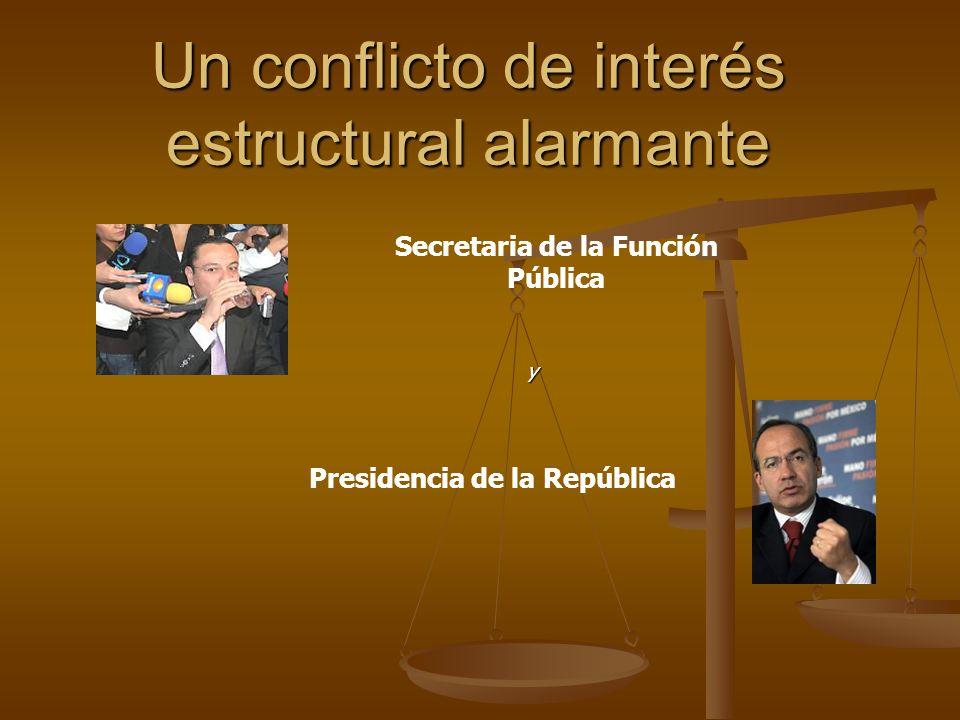 Un conflicto de interés estructural alarmante Secretaria de la Función Pública Presidencia de la República y