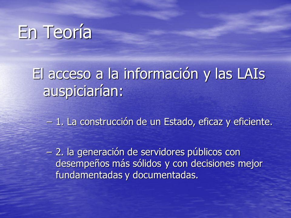 En Teoría El acceso a la información y las LAIs auspiciarían: –1.