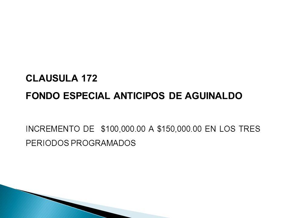 CLAUSULA 172 FONDO ESPECIAL ANTICIPOS DE AGUINALDO INCREMENTO DE $100,000.00 A $150,000.00 EN LOS TRES PERIODOS PROGRAMADOS