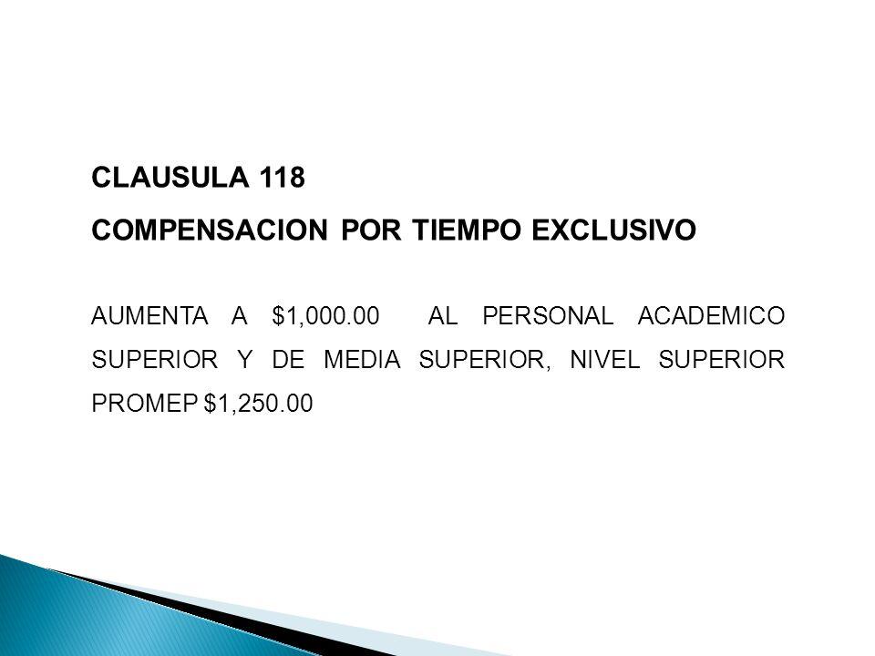 CLAUSULA 118 COMPENSACION POR TIEMPO EXCLUSIVO AUMENTA A $1,000.00 AL PERSONAL ACADEMICO SUPERIOR Y DE MEDIA SUPERIOR, NIVEL SUPERIOR PROMEP $1,250.00