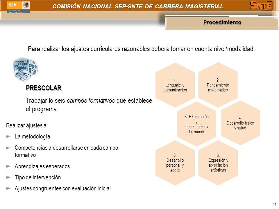 COMISIÓN NACIONAL SEP-SNTE DE CARRERA MAGISTERIAL Procedimiento 11 Para realizar los ajustes curriculares razonables deberá tomar en cuenta nivel/modalidad: PRESCOLAR Trabajar lo seis campos formativos que establece el programa: 2.