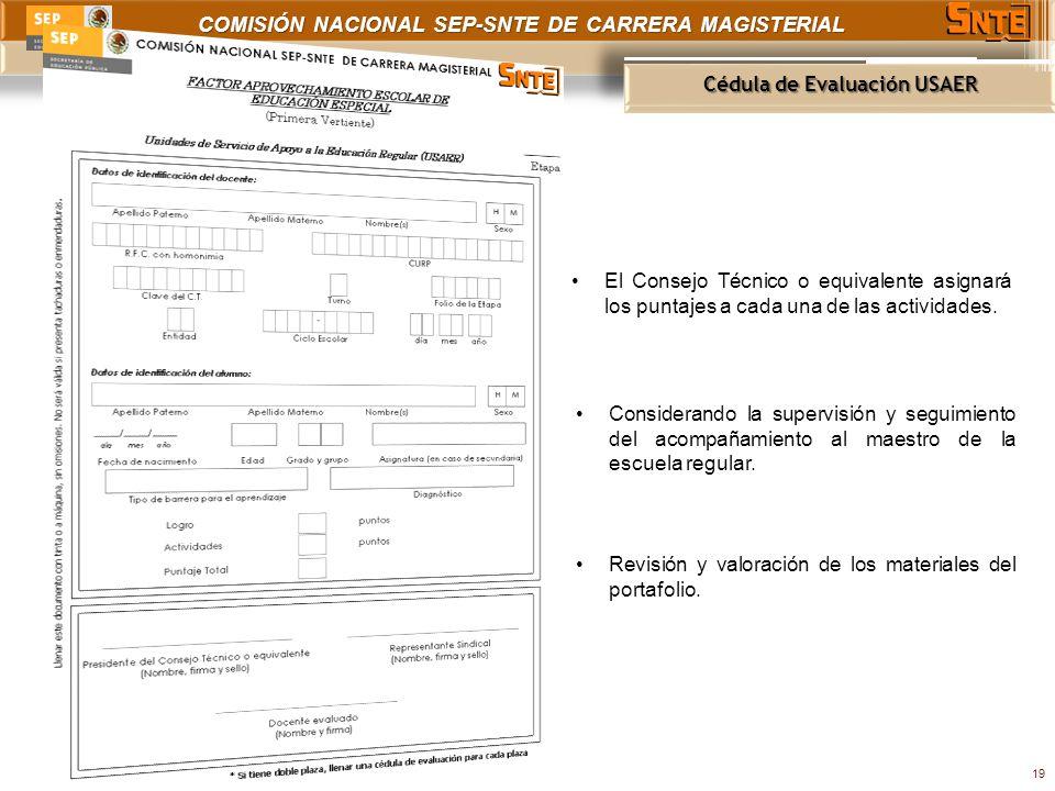 COMISIÓN NACIONAL SEP-SNTE DE CARRERA MAGISTERIAL Cédula de Evaluación USAER 19 El Consejo Técnico o equivalente asignará los puntajes a cada una de l