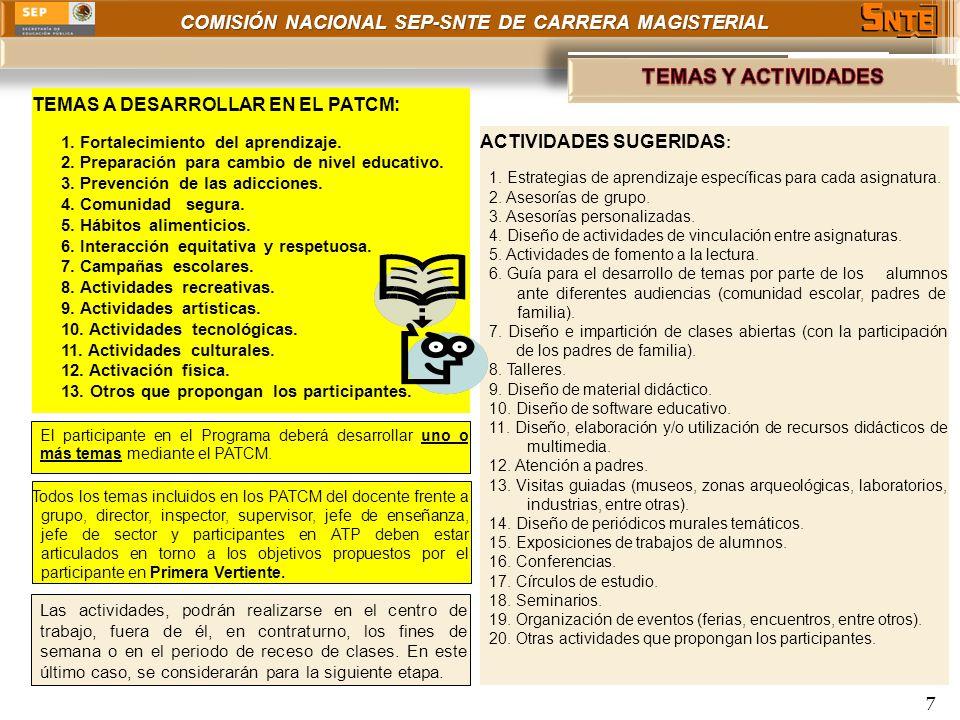 COMISIÓN NACIONAL SEP-SNTE DE CARRERA MAGISTERIAL 7 TEMAS A DESARROLLAR EN EL PATCM: 1. Fortalecimiento del aprendizaje. 2. Preparación para cambio de