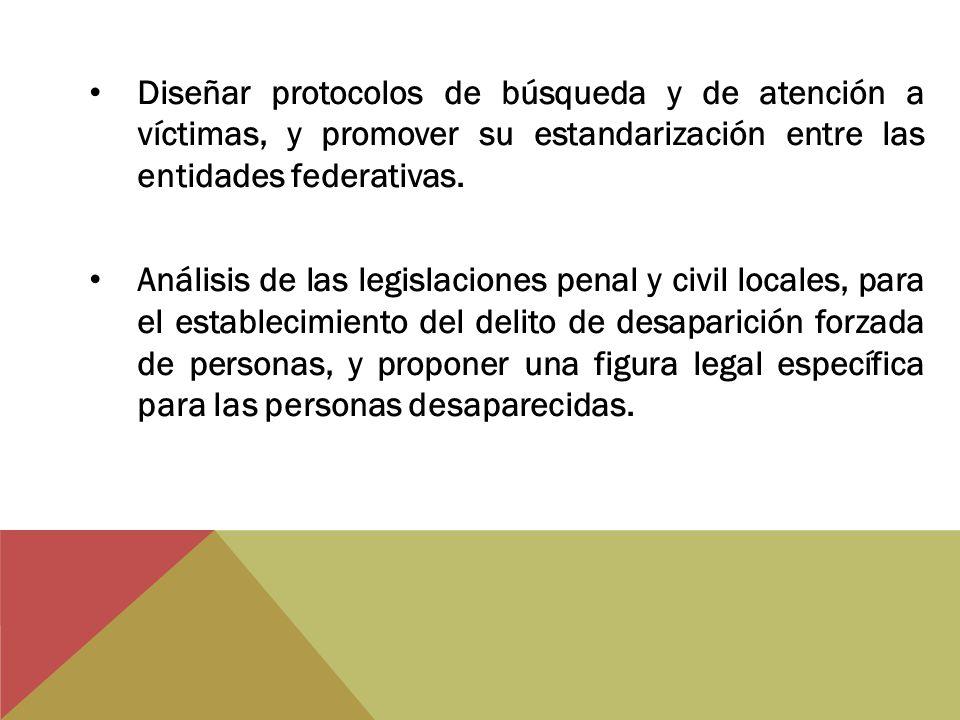 Diseñar protocolos de búsqueda y de atención a víctimas, y promover su estandarización entre las entidades federativas. Análisis de las legislaciones