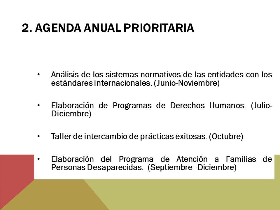 Análisis de los sistemas normativos de las entidades con los estándares internacionales. (Junio-Noviembre) Elaboración de Programas de Derechos Humano