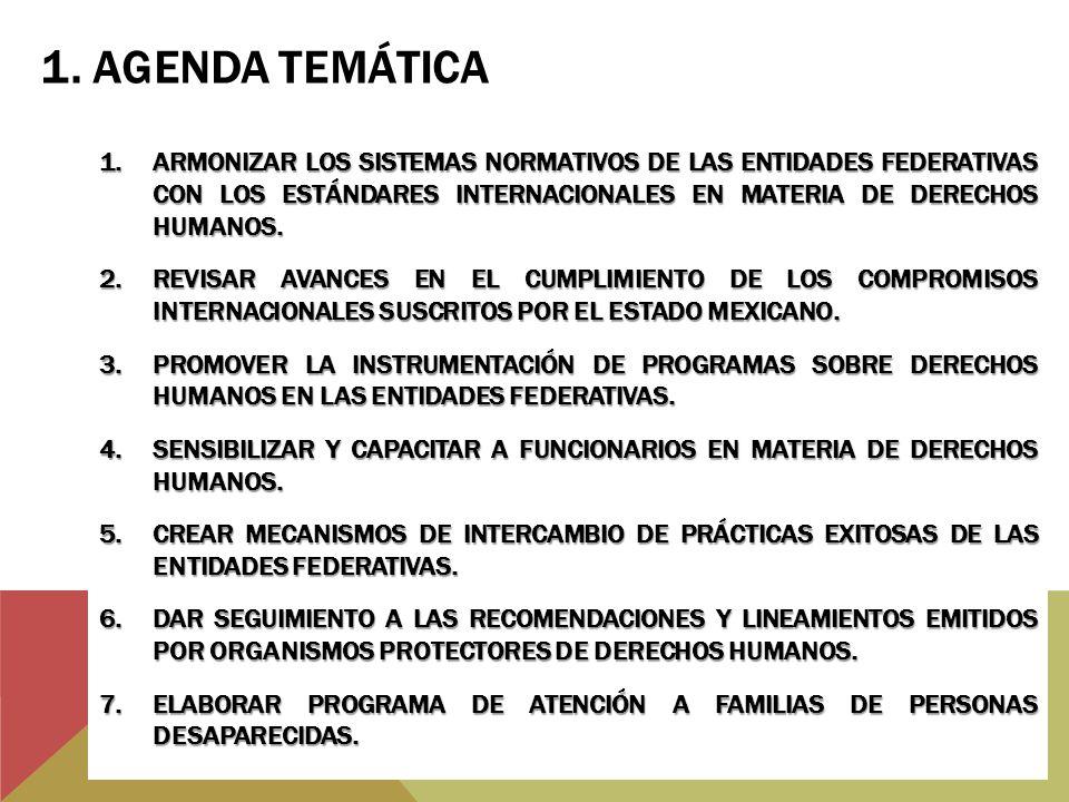 1.ARMONIZAR LOS SISTEMAS NORMATIVOS DE LAS ENTIDADES FEDERATIVAS CON LOS ESTÁNDARES INTERNACIONALES EN MATERIA DE DERECHOS HUMANOS. 2.REVISAR AVANCES