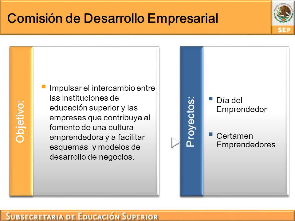 Comisión de Desarrollo Empresarial Impulsar el intercambio entre las instituciones de educación superior y las empresas que contribuya al fomento de u