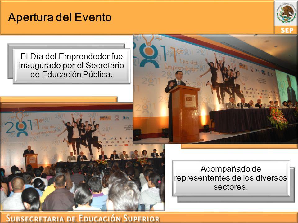 Apertura del Evento El Día del Emprendedor fue inaugurado por el Secretario de Educación Pública. Acompañado de representantes de los diversos sectore