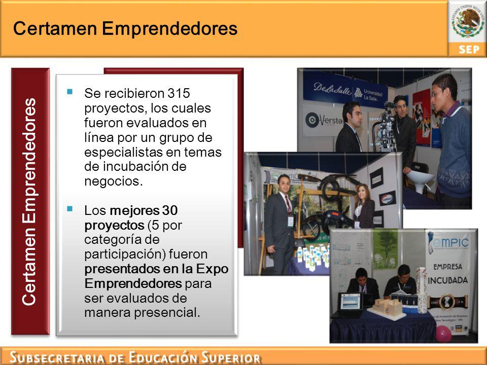 Certamen Emprendedores Se recibieron 315 proyectos, los cuales fueron evaluados en línea por un grupo de especialistas en temas de incubación de negoc