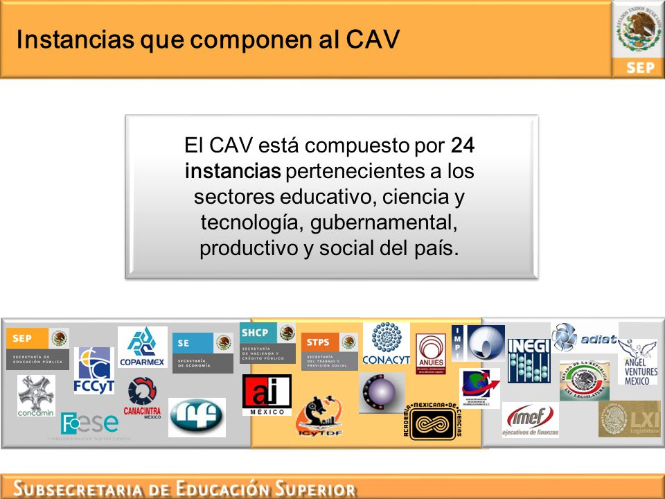 Secretaría Técnica del CAV La Secretaría Técnica del CAV, conformada por la SEP, el FCCyT y la CONCAMIN, se ha fortalecido con la reciente incorporación de la COPARMEX, en representación del sector empresarial mexicano.