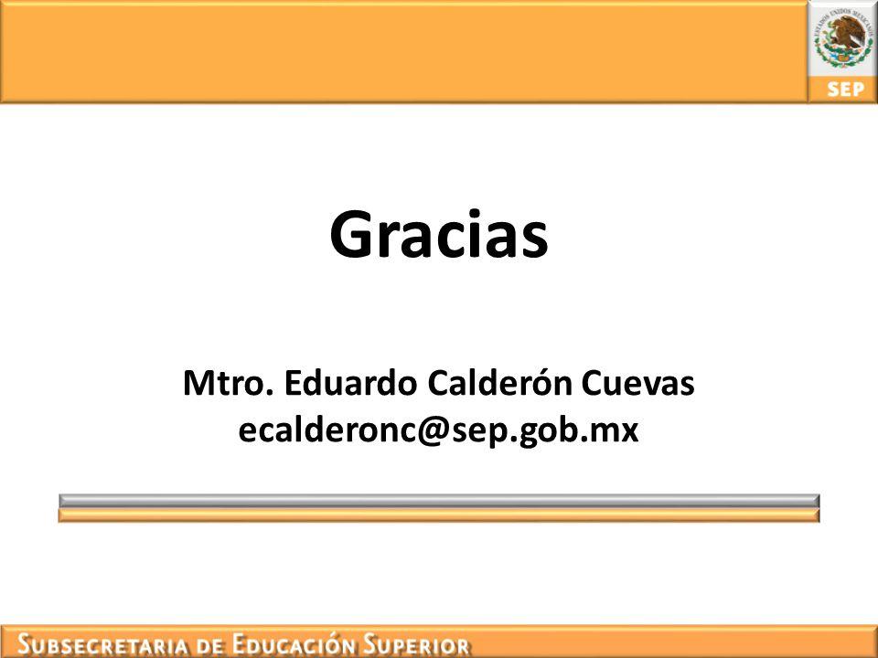 Gracias Mtro. Eduardo Calderón Cuevas ecalderonc@sep.gob.mx