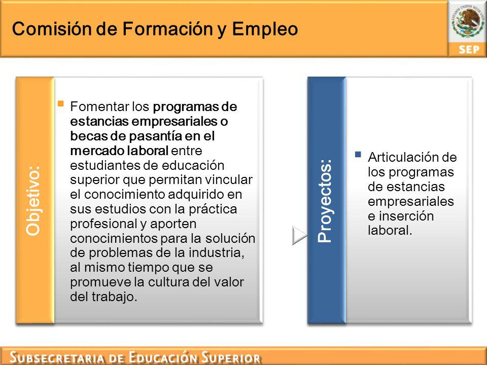 Comisión de Formación y Empleo Fomentar los programas de estancias empresariales o becas de pasantía en el mercado laboral entre estudiantes de educac