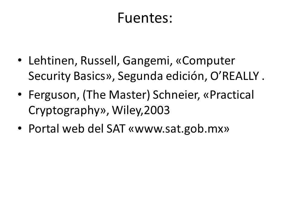 Fuentes: Lehtinen, Russell, Gangemi, «Computer Security Basics», Segunda edición, OREALLY. Ferguson, (The Master) Schneier, «Practical Cryptography»,