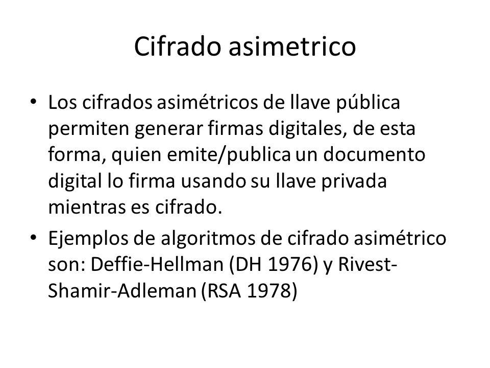 Cifrado asimetrico Los cifrados asimétricos de llave pública permiten generar firmas digitales, de esta forma, quien emite/publica un documento digita