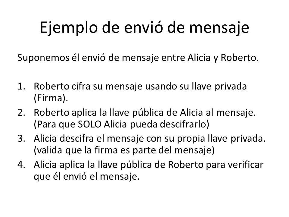 Ejemplo de envió de mensaje Suponemos él envió de mensaje entre Alicia y Roberto. 1.Roberto cifra su mensaje usando su llave privada (Firma). 2.Robert