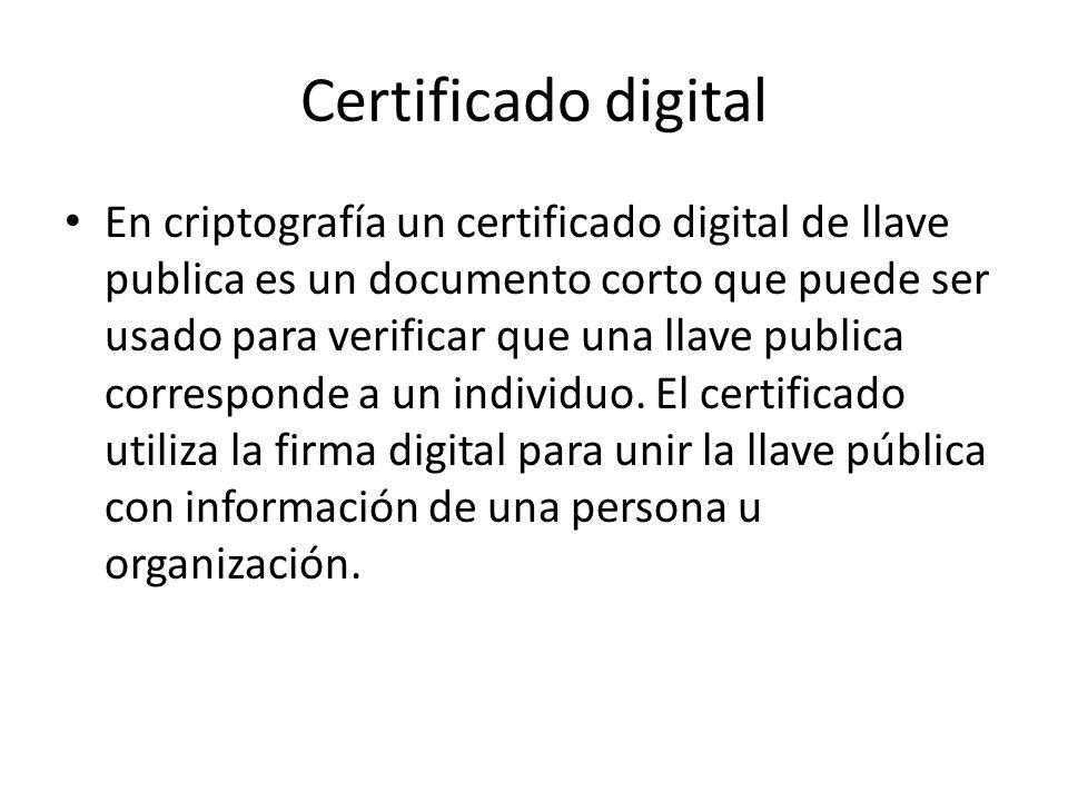 Certificado digital (cont.) Un certificado usualmente se apega al estándar ITU-T X.509 versión 3, donde al menos se incluye lo siguiente: Versión Número de serie ID del algoritmo Emisor Validez No antes de No después de Sujeto Información de clave pública del sujeto Algoritmo de clave pública Clave pública del sujeto Algoritmo usado para firmar el certificado Firma digital del certificado