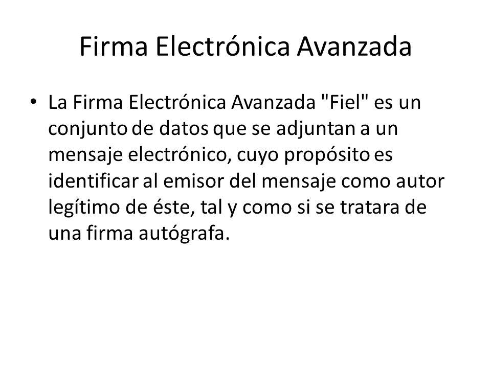 Firma Electrónica Avanzada Por sus características, la Fiel brinda seguridad a las transacciones electrónicas de los contribuyentes, con su uso se puede identificar al autor del mensaje y verificar no haya sido modificado.