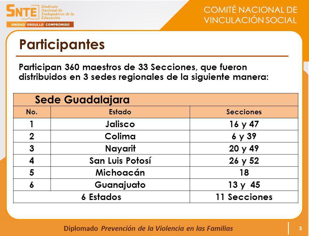 COMITÉ NACIONAL DE VINCULACIÓN SOCIAL Diplomado Prevención de la Violencia en las Familias Participantes Participan 360 maestros de 33 Secciones, que fueron distribuidos en 3 sedes regionales de la siguiente manera: 3 Sede Guadalajara No.EstadoSecciones 1Jalisco16 y 47 2Colima6 y 39 3Nayarit20 y 49 4San Luis Potosí26 y 52 5Michoacán18 6Guanajuato13 y 45 6 Estados11 Secciones