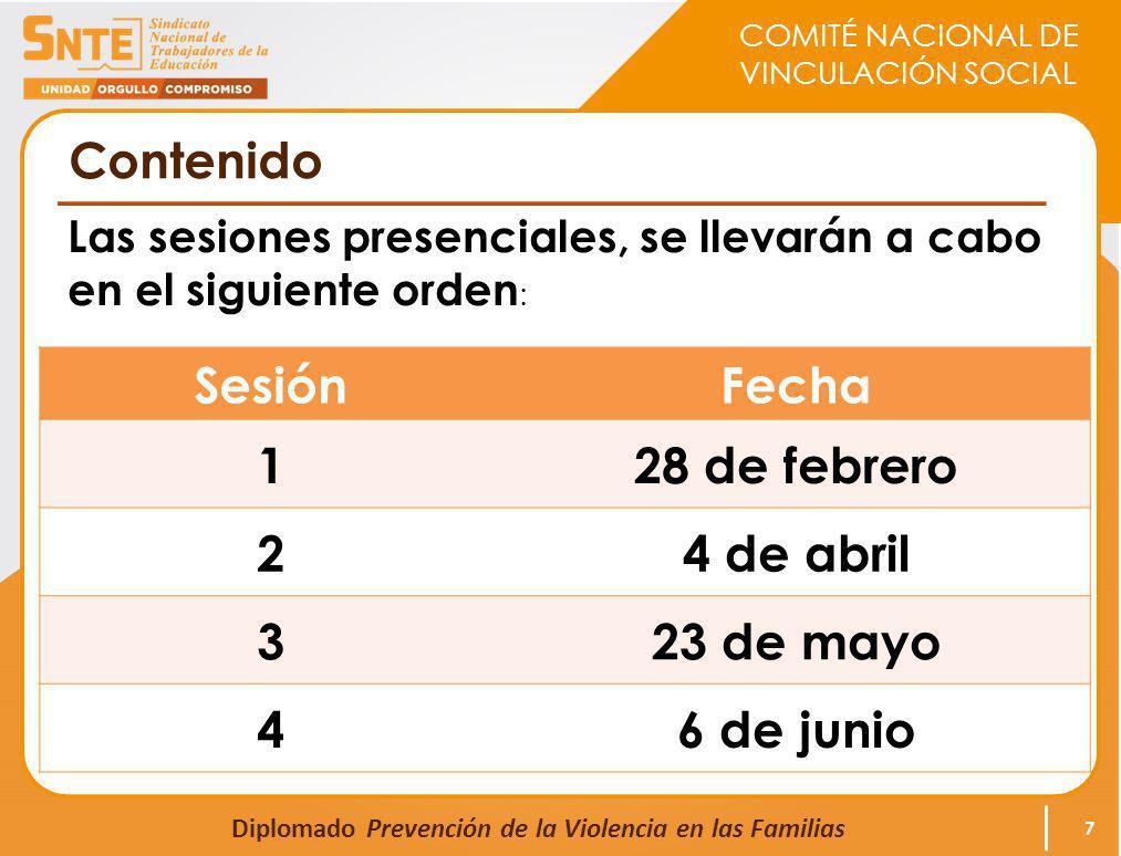 COMITÉ NACIONAL DE VINCULACIÓN SOCIAL Diplomado Prevención de la Violencia en las Familias Contenido Las sesiones presenciales, se llevarán a cabo en el siguiente orden : 7 SesiónFecha 128 de febrero 24 de abril 323 de mayo 46 de junio