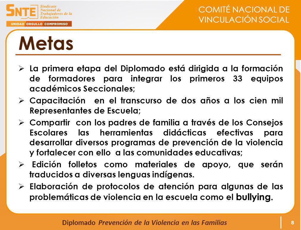 COMITÉ NACIONAL DE VINCULACIÓN SOCIAL Diplomado Prevención de la Violencia en las Familias Metas La primera etapa del Diplomado está dirigida a la for