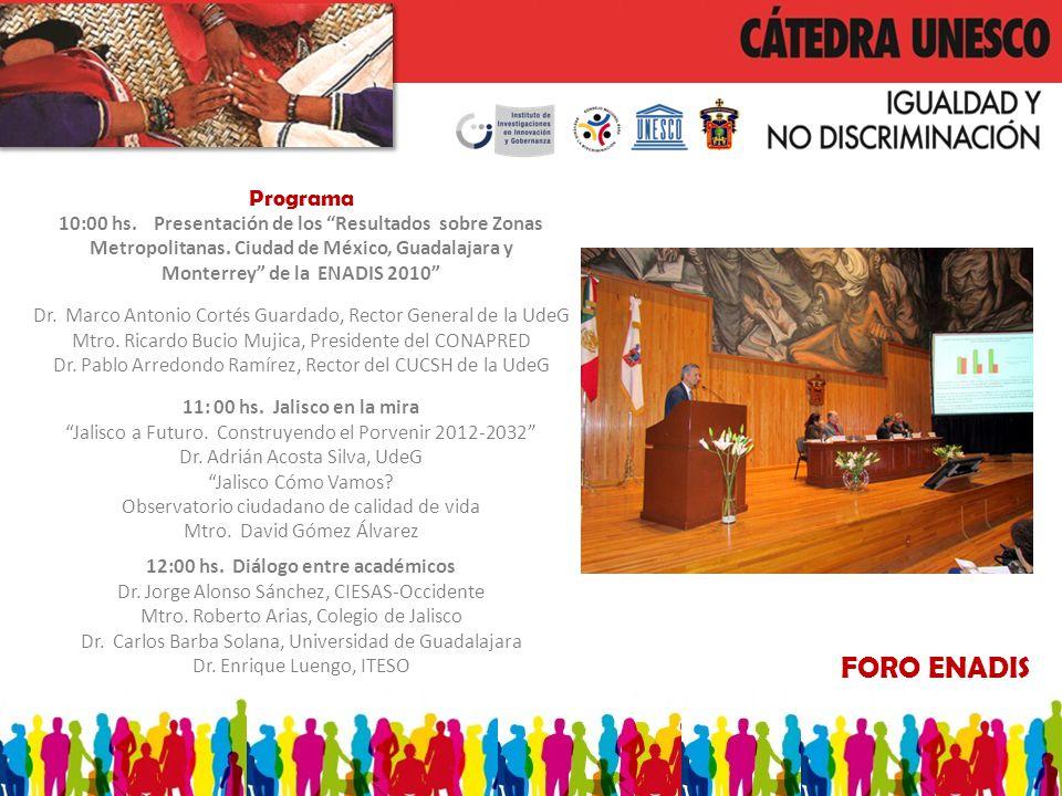 FORO ENADIS Programa 10:00 hs. Presentación de los Resultados sobre Zonas Metropolitanas. Ciudad de México, Guadalajara y Monterrey de la ENADIS 2010