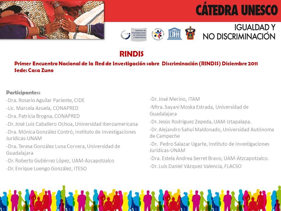 RINDIS Primer Encuentro Nacional de la Red de Investigación sobre Discriminación (RINDIS) Diciembre 2011 Sede: Casa Zuno Participantes: -Dra.