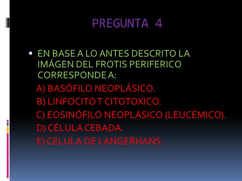 PREGUNTA 4 EN BASE A LO ANTES DESCRITO LA IMÁGEN DEL FROTIS PERIFERICO CORRESPONDE A: A) BASÓFILO NEOPLÁSICO. B) LINFOCITO T CITOTOXICO. C) EOSINÓFILO
