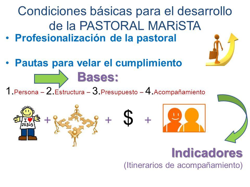 Condiciones básicas para el desarrollo de la PASTORAL MARiSTA Profesionalización de la pastoral Pautas para velar el cumplimiento Bases: 1.