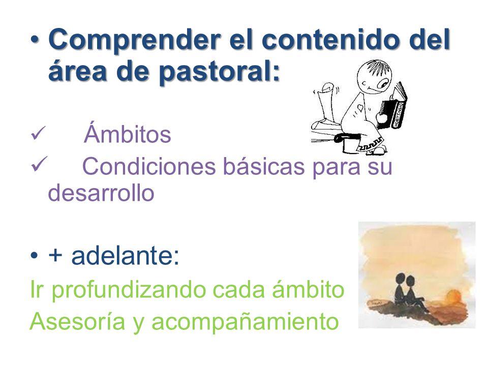 Comprender el contenido del área de pastoral:Comprender el contenido del área de pastoral: Ámbitos Condiciones básicas para su desarrollo + adelante: Ir profundizando cada ámbito Asesoría y acompañamiento