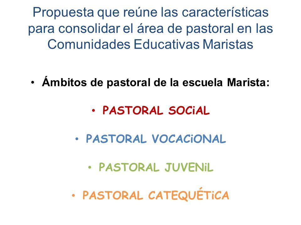 Propuesta que reúne las características para consolidar el área de pastoral en las Comunidades Educativas Maristas Ámbitos de pastoral de la escuela Marista: PASTORAL SOCiAL PASTORAL VOCACiONAL PASTORAL JUVENiL PASTORAL CATEQUÉTiCA