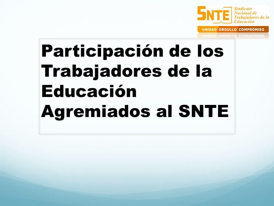 Participación de los Trabajadores de la Educación Agremiados al SNTE