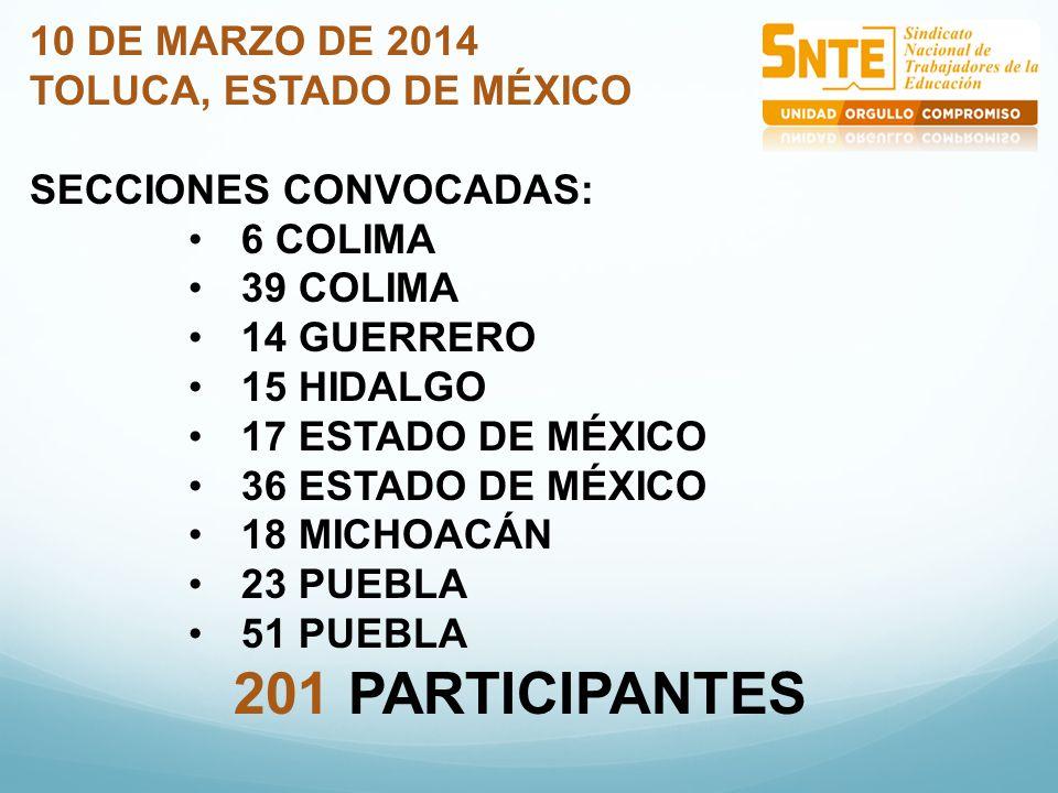 10 DE MARZO DE 2014 TOLUCA, ESTADO DE MÉXICO SECCIONES CONVOCADAS: 6 COLIMA 39 COLIMA 14 GUERRERO 15 HIDALGO 17 ESTADO DE MÉXICO 36 ESTADO DE MÉXICO 18 MICHOACÁN 23 PUEBLA 51 PUEBLA 201 PARTICIPANTES