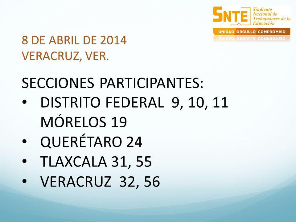 8 DE ABRIL DE 2014 VERACRUZ, VER. SECCIONES PARTICIPANTES: DISTRITO FEDERAL 9, 10, 11 MÓRELOS 19 QUERÉTARO 24 TLAXCALA 31, 55 VERACRUZ 32, 56