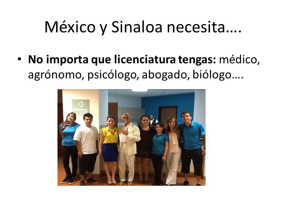 México y Sinaloa necesita…. No importa que licenciatura tengas: médico, agrónomo, psicólogo, abogado, biólogo….