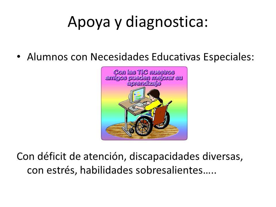 Apoya y diagnostica: Alumnos con Necesidades Educativas Especiales: Con déficit de atención, discapacidades diversas, con estrés, habilidades sobresal