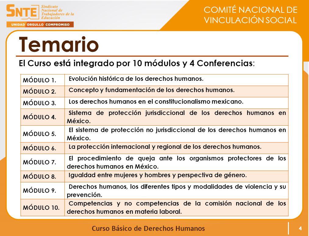 COMITÉ NACIONAL DE VINCULACIÓN SOCIAL Curso Básico de Derechos Humanos Temario Las Conferencias virtuales se realizaron en vivo, con señal para todas las Sedes en las siguientes fechas: 5 FECHATÍTULO DE LA CONFERENCIACONFERENCISTA 8 de marzo Derechos Humanos de las niñas, niños y adolescentes.
