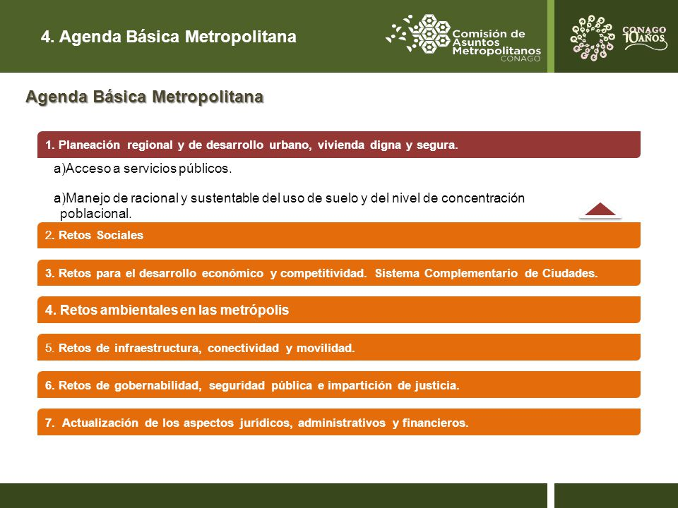 4.Agenda Básica Metropolitana 2. Retos Sociales 3.