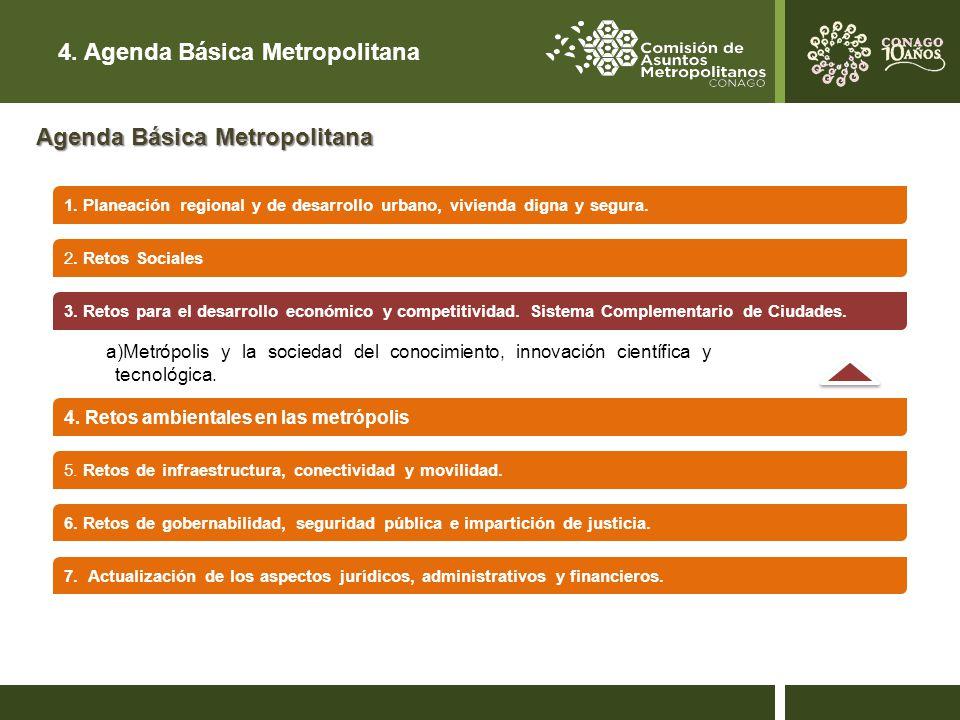 4.Agenda Básica Metropolitana 4. Retos ambientales en las metrópolis 5.