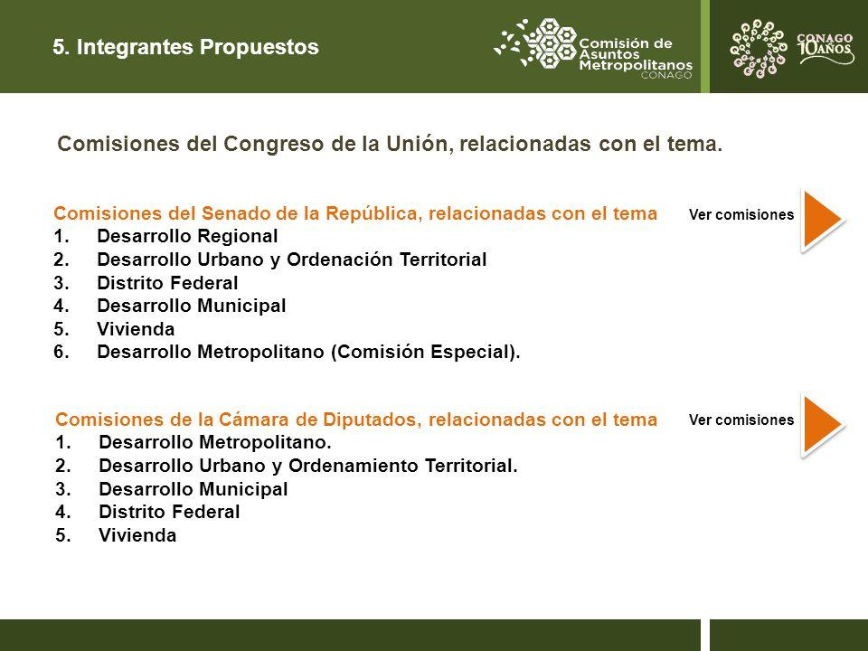 5.Integrantes Propuestos Comisiones del Congreso de la Unión, relacionadas con el tema.