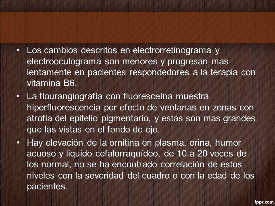 Los cambios descritos en electrorretinograma y electrooculograma son menores y progresan mas lentamente en pacientes respondedores a la terapia con vi