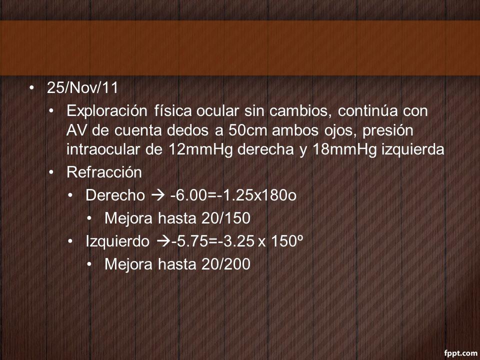 25/Nov/11 Exploración física ocular sin cambios, continúa con AV de cuenta dedos a 50cm ambos ojos, presión intraocular de 12mmHg derecha y 18mmHg izq