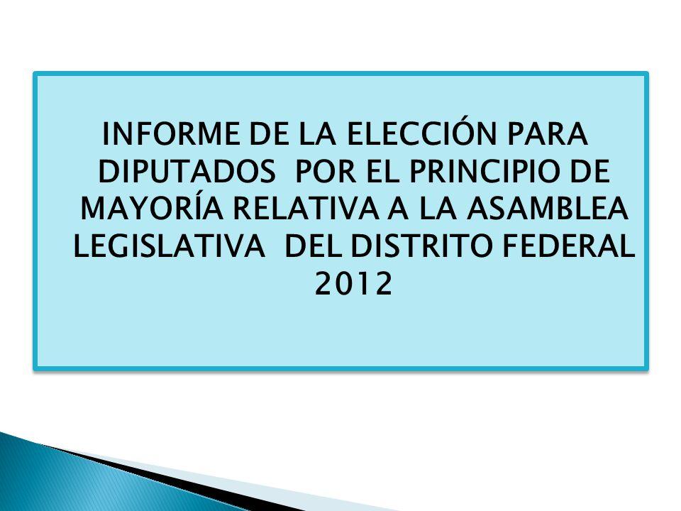 A CONTINUACIÓN SE OFRECEN ALGUNAS CONSIDERACIONES DERIVADAS DEL RECIENTE PROCESO ELECTORAL LOCAL, Y DE MANERA ESPECÍFICA, CON RESPECTO A LA ELECCIÓN DE DIPUTADOS A LA ASAMBLEA LEGISLATIVA DEL DISTRITO FEDERAL POR EL PRINCIPIO DE REPRESENTACIÓN PROPORCIONAL.