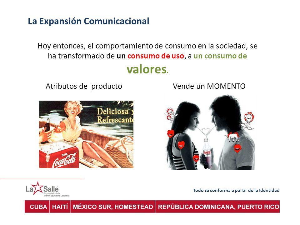 Todo se conforma a partir de la Identidad La Expansión Comunicacional Hoy entonces, el comportamiento de consumo en la sociedad, se ha transformado de un consumo de uso, a un consumo de valores.