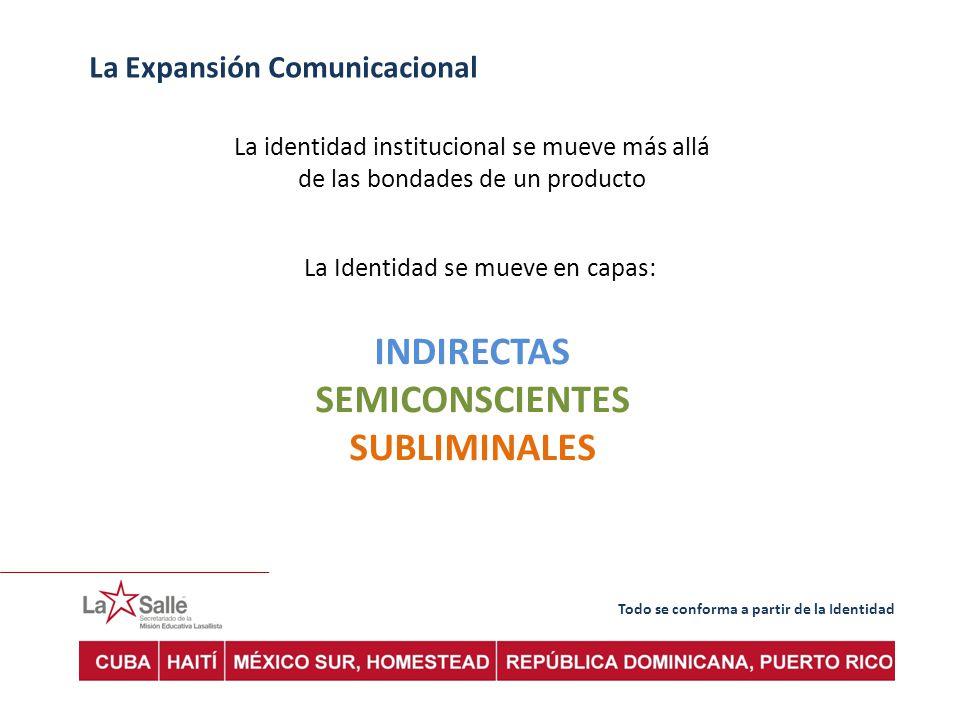 Todo se conforma a partir de la Identidad La Expansión Comunicacional La identidad institucional se mueve más allá de las bondades de un producto La Identidad se mueve en capas: INDIRECTAS SEMICONSCIENTES SUBLIMINALES