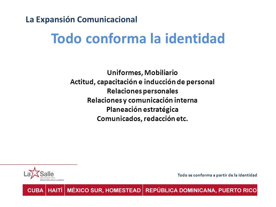 Todo se conforma a partir de la Identidad La Expansión Comunicacional Uniformes, Mobiliario Actitud, capacitación e inducción de personal Relaciones personales Relaciones y comunicación interna Planeación estratégica Comunicados, redacción etc.