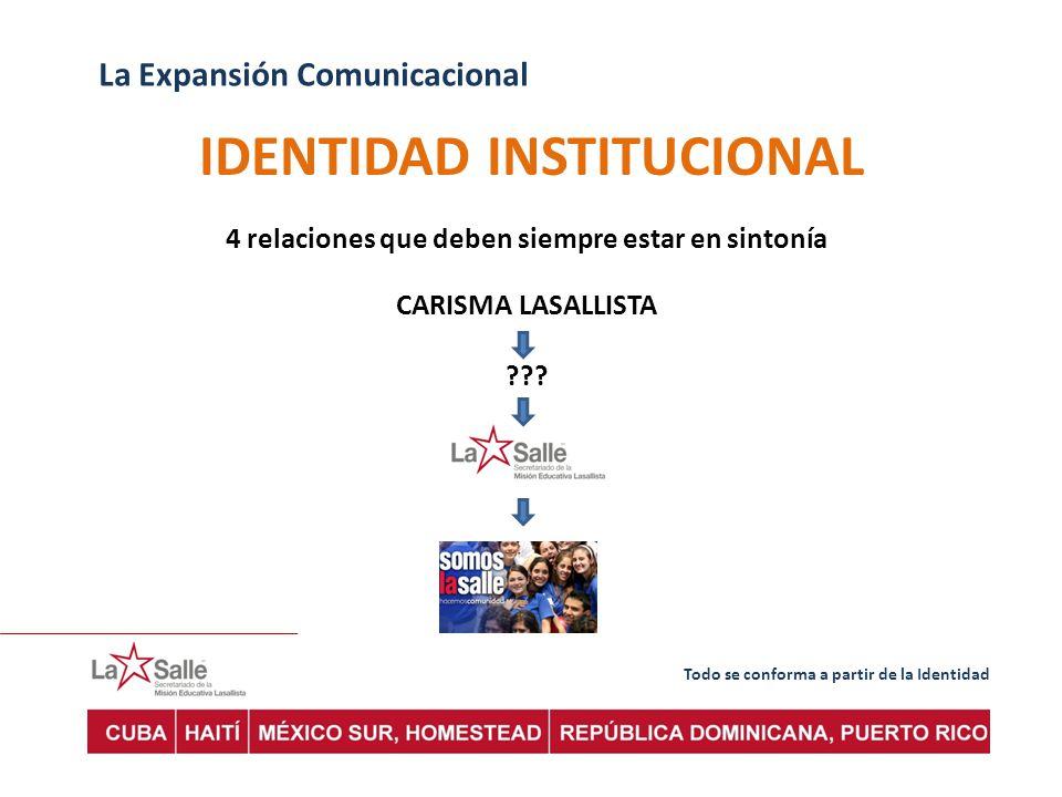 Todo se conforma a partir de la Identidad La Expansión Comunicacional IDENTIDAD INSTITUCIONAL 4 relaciones que deben siempre estar en sintonía CARISMA LASALLISTA ???