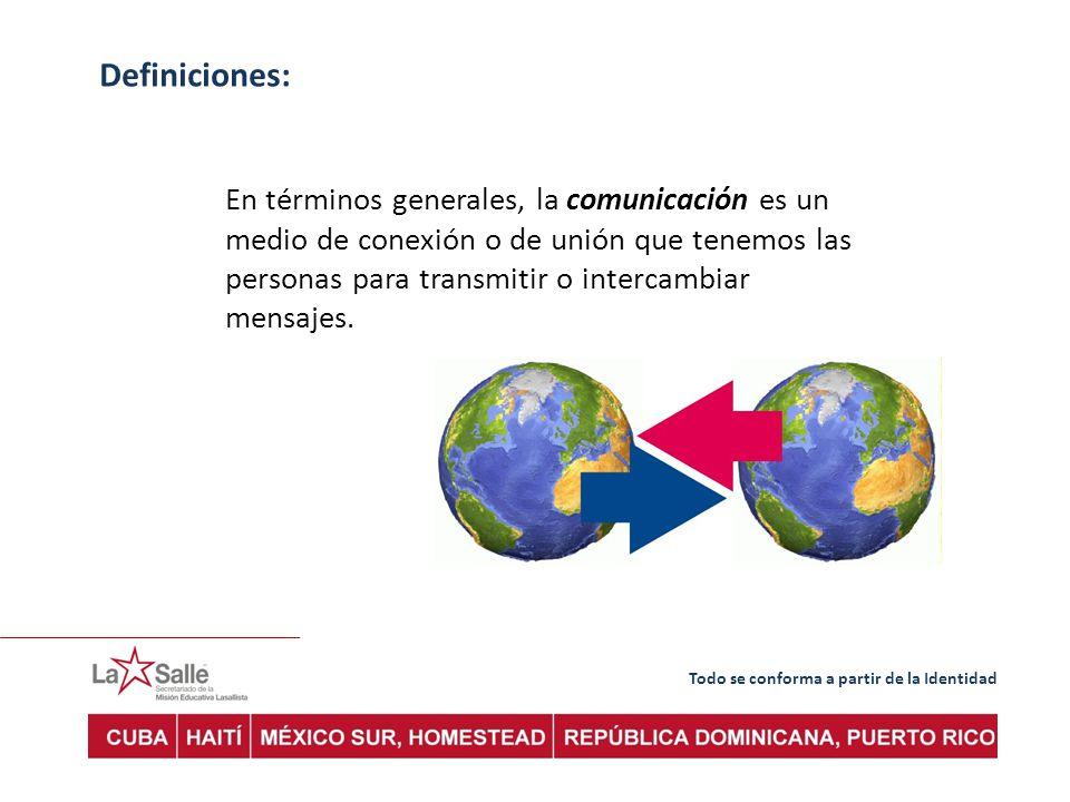 Definiciones: En términos generales, la comunicación es un medio de conexión o de unión que tenemos las personas para transmitir o intercambiar mensajes.